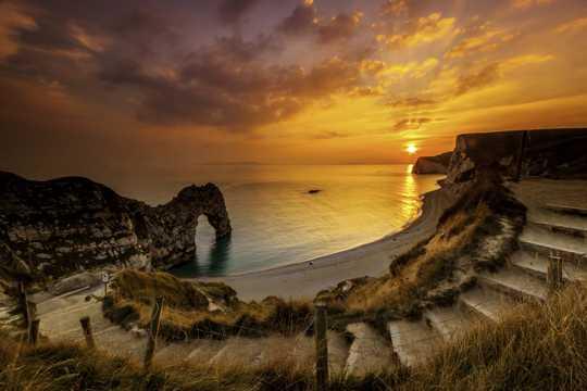 日落夕阳海岸景观