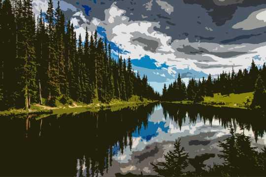 湖光山色油画风光图片