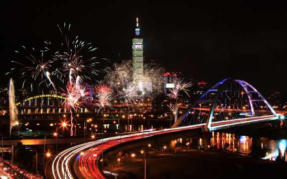 台湾台北101高楼夜景