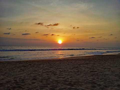 斯里兰卡沙滩落日风光