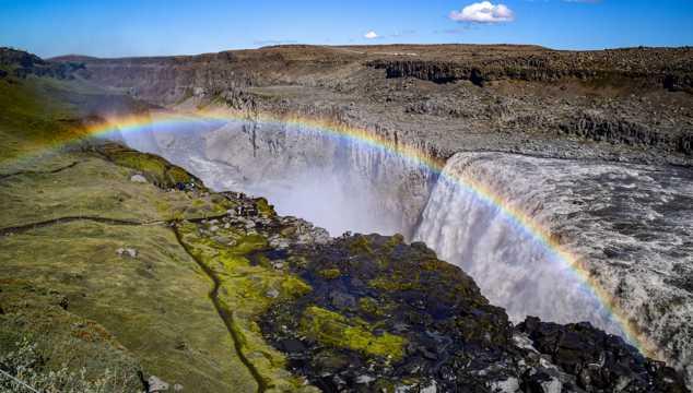 壮丽的瀑布彩虹景观
