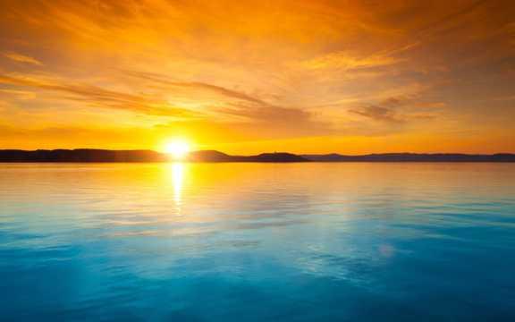 海上落日唯美境界景观