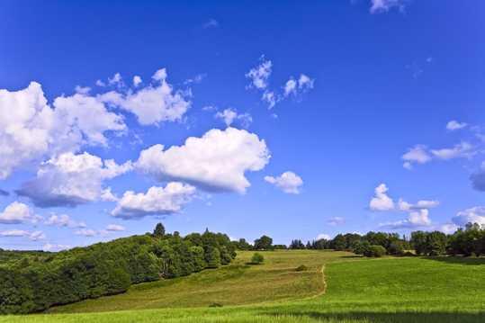蓝色天空下的美丽草坡