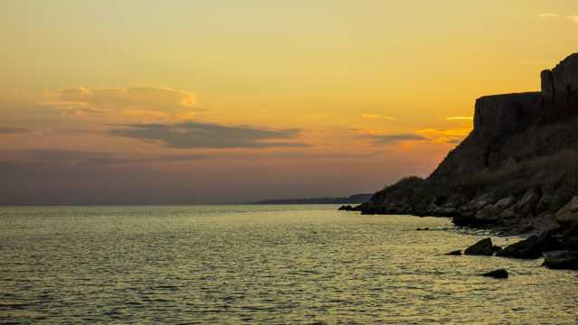 海上日落残阳景观