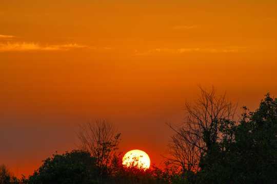 山顶朝阳光景图片