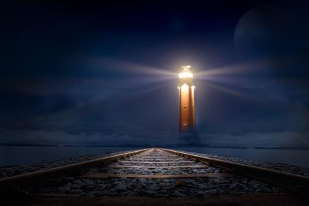 灯塔,铁路,黑暗的夜晚,高清
