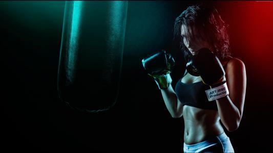 运动女孩,拳击手套,拳击(水平)