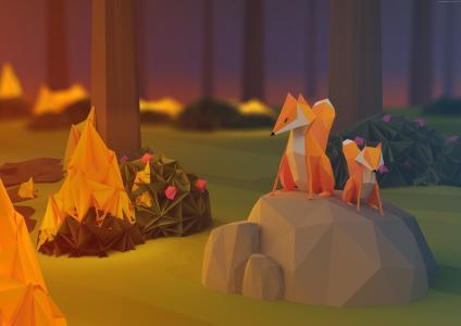 狐狸,低聚,3d,森林(水平)