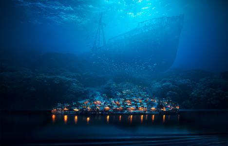 水下,城市,深渊,鳌鱼,数字艺术,高清