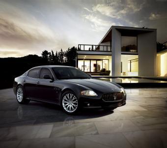 玛莎拉蒂Quattroporte,超级跑车,豪华车,跑车,前排,复习,试驾,黑色(水平)