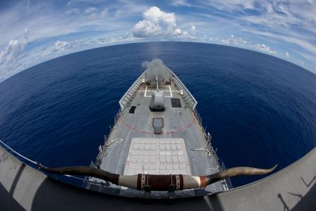 美国海军考文斯,巡洋舰,CG-63,提康德罗加级,喇叭,射击,美国海军,美国(水平)