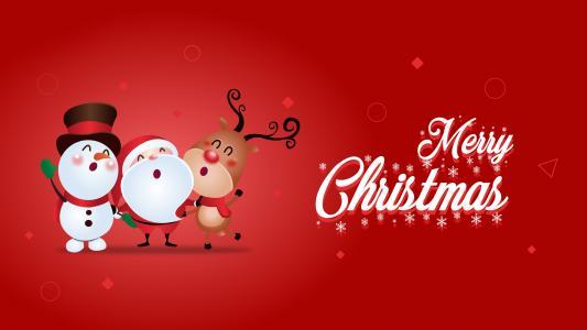 圣诞快乐,雪人,圣诞老人,