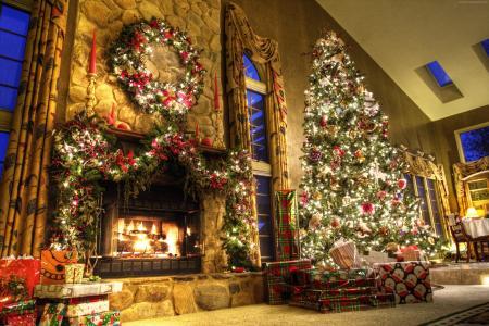新的一年,壁炉,装饰,枞树,消防,灯,房间,礼品(水平)