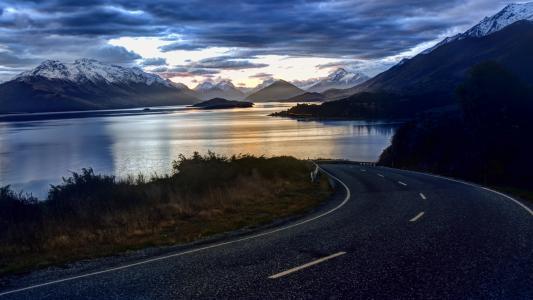 新西兰,4k,高清壁纸,大自然,天空,云,湖,路,景观,水,山(水平)