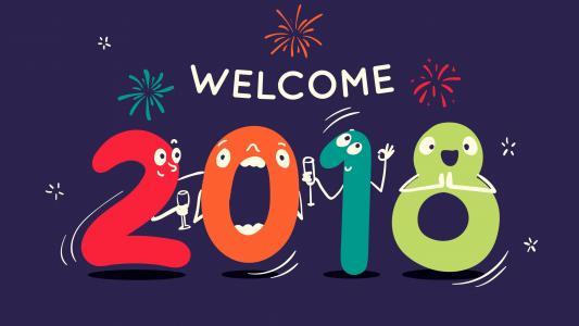 2018年,新年快乐,欢迎,高清,4K