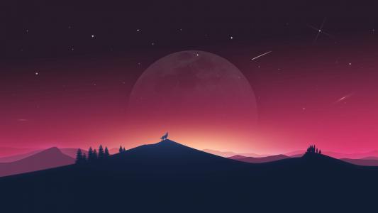 狼嚎叫,月亮,剪影,最小,4K