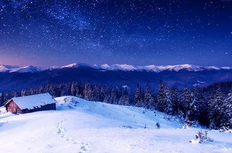 山,5k,4k壁纸,8k,晚上,星星,树,天空,雪(水平)