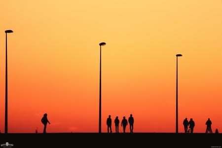 人,黄昏,剪影,路灯,高清