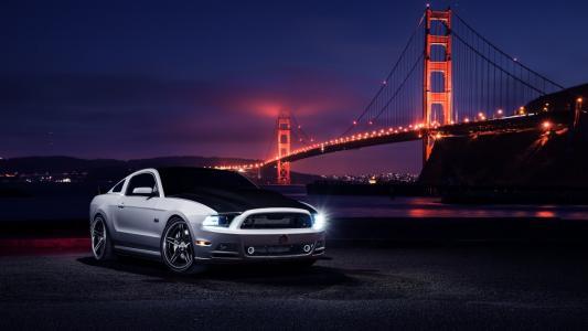 福特野马,金门大桥,夜