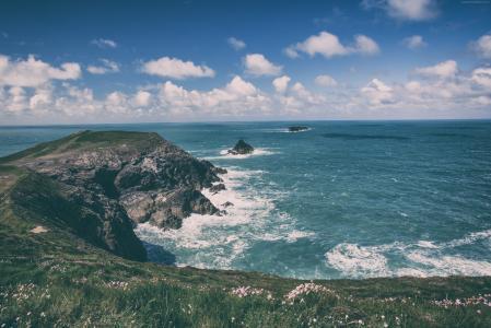 康沃尔郡,5k,4k壁纸,英格兰,海岸线,岩石,天空,云(水平)