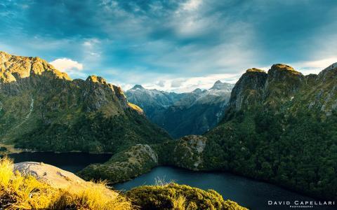 峡湾,山,新西兰