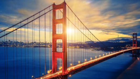 金门大桥,日落,高清