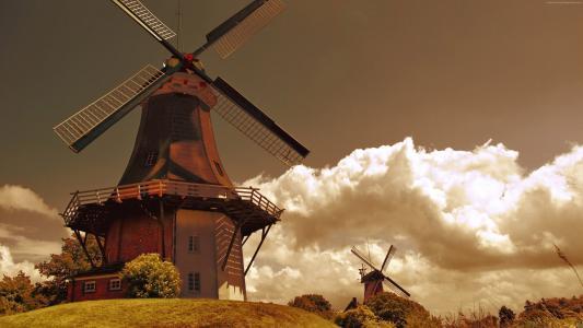 荷兰,4k,高清壁纸,轧机,风,田地,天空,草,自然,云,荷兰(水平)
