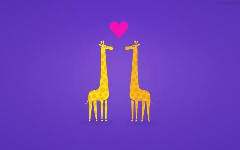 长颈鹿夫妇,动画片,HD