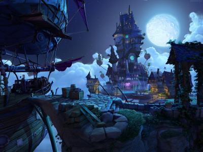 游戏,幻想,童话,蓝色,月亮,城市,艺术,截图,PC,4k,5k,2015(横向)