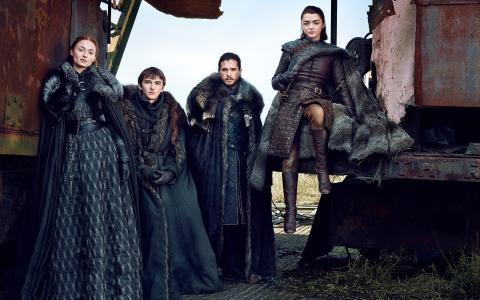 权力的游戏第七季,乔恩·斯诺,艾莉亚·史塔克,布兰登·史塔克,Sansa Stark,Kit Harington,Maisie Williams,索菲·特纳,电视连续剧,4k(水平