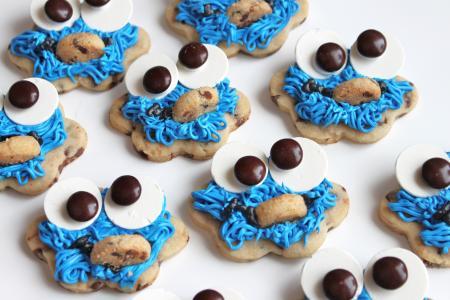 饼干,怪物饼干,眼睛,嘴里,头发,蓝色,烹饪,食谱(水平)