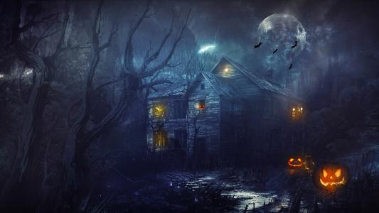 万圣节的房子,蝙蝠,南瓜,月亮,令人毛骨悚然