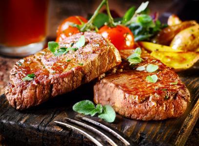 牛肉,牛排,食物,烹饪,烧烤,蔬菜,餐,肉,番茄叶。