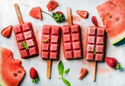 冰淇淋,草莓,西瓜,美味,4k(水平)
