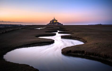 圣米歇尔山,法国,日落