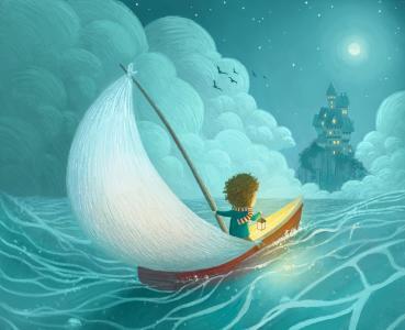 冒险,城堡,月亮,帆船,孩子,灯笼,图画,数字艺术,4K