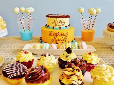 生日蛋糕,马卡龙,收据,4k(水平)