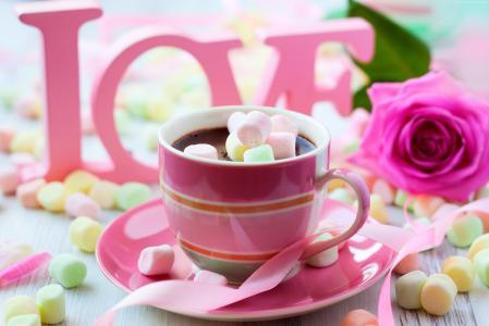 情人节,浪漫,杯,咖啡,玫瑰,爱(水平)