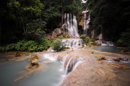 大叻瀑布,4k,高清壁纸,瀑布,Pongour,瀑布,越南,山,河(水平)