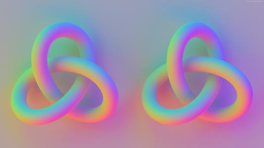 圆环,4k,5k壁纸,结,3d,粉红色(水平)