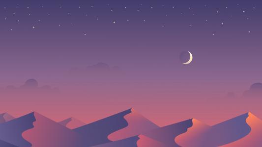 半个月亮,星星,沙漠,沙丘,最小,5K
