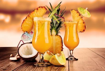 鸡尾酒,果汁,水果,菠萝,椰子,瓜,冰(水平)