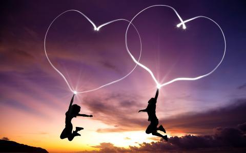 爱的心,男孩,女孩,夫妇,双,高清