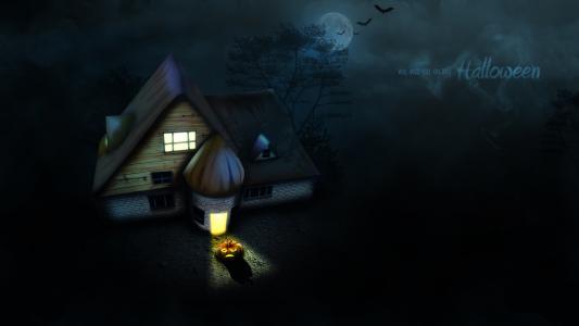 万圣节房子,南瓜,黑暗