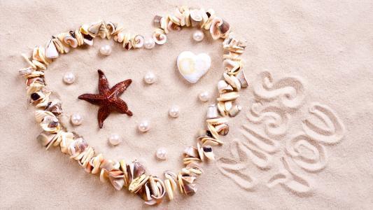 爱的形象,心,海星,壳,岸,4k(水平)