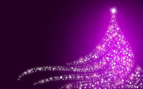 圣诞灯,圣诞树,紫色,高清