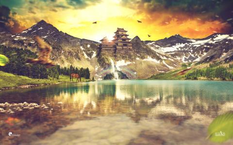 古代,日出,早上,湖,生活,动物