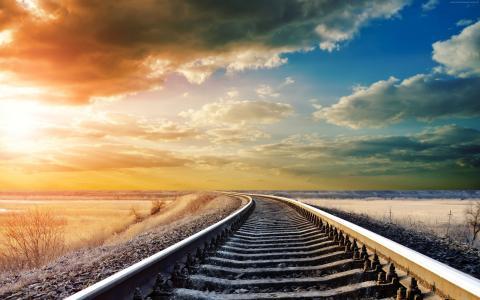 铁路,4k,高清壁纸,路,天空,云,一天,太阳,冬季,梦想,(水平)