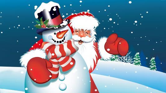圣诞节,新年,圣诞老人,雪人(水平)