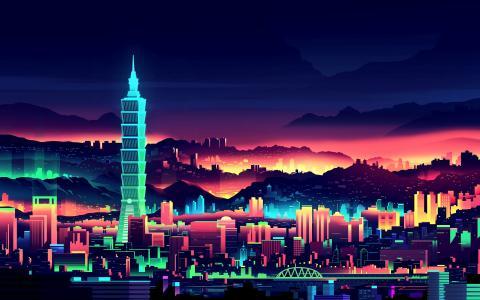 台北,台北101,晚上,艺术品,高清
